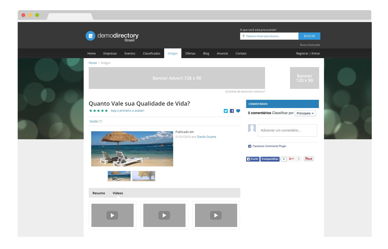 eDirectory Múltiplos Videos para Artigos