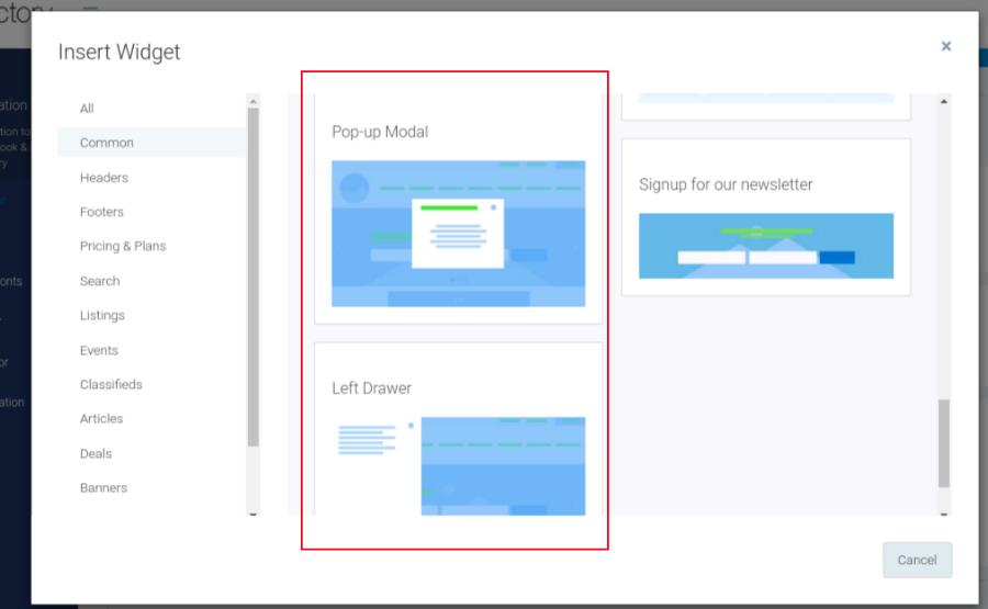 eDirectory Pacote de widgets de pop-up