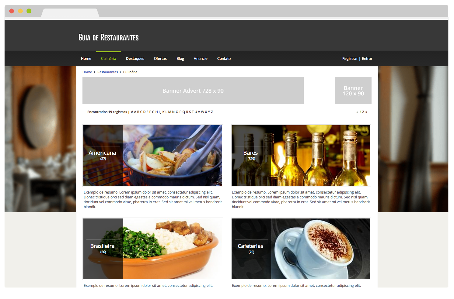 Tema eDirectory Guia de Restaurantes - Funcionalidade por Culinárias