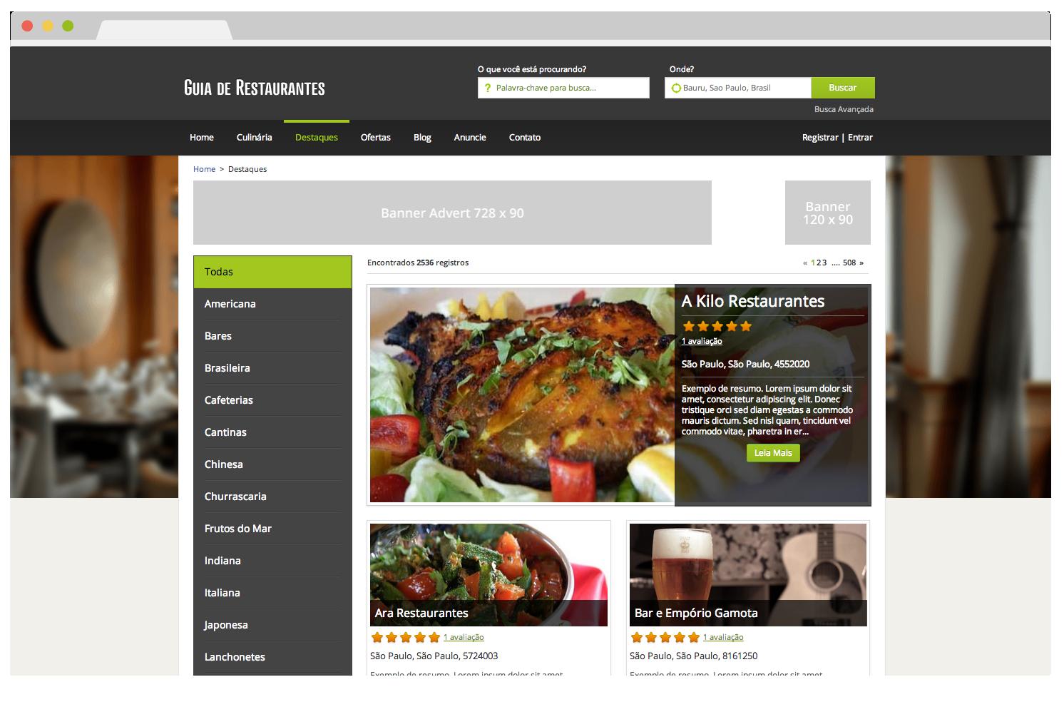 Tema eDirectory Guia de Restaurantes - Funcionalidade O Melhor de