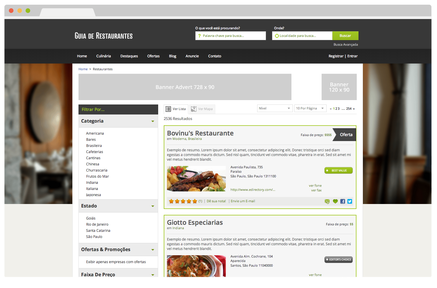 Tema eDirectory Guia de Restaurantes - Funcionalidade Faixa de Preço